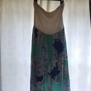 Anthropologie strapless maxi dress
